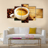 Coffee Espresso Cup Of Coffee with Beans and Green Leaf Multi Panel Canvas Wall Art