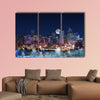 Denver Skyline West Side, Night in Colorado, multi panel canvas wall art