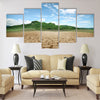 cracked earth - concept image of global warming Multi Panel Canvas Wall Art