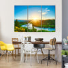 Sunrise Over The Beautiful River Of The Clutha, New Zealand, Multi Panel Canvas Wall Art