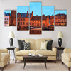 Romantic view on the channel in Brugge Multi panel canvas wall art