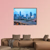 Beautiful shanghai skyline with highway traffic at dusk multi panel canvas wall art