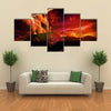 Closeup view of Anak Krakatau erupting - fantasy illustration multi panel canvas wall art