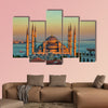 Blue mosque in glorious sunset, Istanbul multi panel canvas wall art