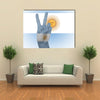 Flag Of Argentina Wrapped In Hand Peace Sign Multi Panel Canvas Wall Art