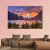 Beautiful sunset at St Mary Lake in Glacier national park wall art
