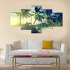 Sunset on the beach Takamaka, Mahe island, Seychelles Multi panel canvas wall art
