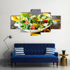 Fitness Mixed greens, tomatos, diet cheese, olive oil and spices for healthy lifestyle concept, Multi panel canvas wall art