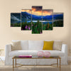 Bulgarian circus lake in Rila mountain, sunset Multi panel canvas wall art