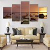 Sunset on the sea shore on the Baltic sea in Tallinn Multi panel canvas wall art
