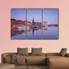 Bremen City by river at sunset, Germany multi panel canvas wall art