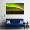 Northern lights above abandoned house in Iceland Multi Panel Canvas Wall Art