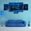 Mountain summer landscape and forest on hillside under sky at night in moon light Multi Panel Canvas Wall Art