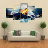 Volcanic eruption on island - inside crater multi panel canvas wall art