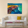 Original abstract oil painting of cliffs and ocean Multi Panel Canvas Wall Art