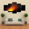 Smoking Crater of Halemaumau Kilauea Volcano in Hawaii Volcanoes National Park on Big Island at night multi panel canvas wall art