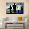 Soldiers Silhouette On A Sunset With Rifles, Targeting Enemy, Multi Panel Canvas Wall Art