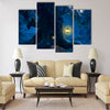 Magical night with a little home in the trunk Multi Panel Canvas Wall Art