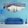 The Winter Landscape On A Sunny Afternoon With The Village In Ukraine Multi Panel Canvas Wall Art