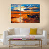 Original oil painting of boats and jetty(pier) on canvas Multi Panel Canvas Wall Art