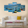 Colorful boats on Fewa lake, Pokhara, Nepal Multi panel canvas wall art