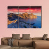 Colorful summer sunrise on the sea multi panel canvas wall art