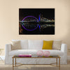 Clyde Arc bridge over the River Clyde in Glasgow at night, Multi Panel Canvas Wall Art