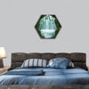 Fantastic cave and waterfall in the background hexagonal canvas wall art