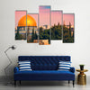 A Mesmerizing Beauty Of the Scene Of The Dome Of The Jerusalem At Sunset Multi Panel Canvas Wall Art