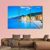 Camogli old church on sea and beach view Liguria, Italy Long wall art
