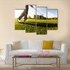 Golfer performs a golf shot from the fairway Multi Panel Canvas Wall Art