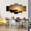 Military Aircraft Take Off On A Sunset Multi Panel Canvas Wall Art