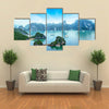 Tourist junks floating among limestone rocks at early morning in Southeast Asia Multi panel canvas wall art