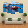 Beautiful Scene Of A Ship In Water, Ready For Cargo Multi Panel Canvas Wall Art