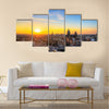 Sunset cityscape in winter of the skyline of Amsterdam, the Netherlands HDR Multi panel canvas wall art