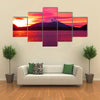 Mount Fuji and Lake Shojiko at sunrise multi panel canvas wall art