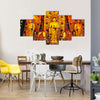 Decorated Interior Of A Buddhist Shrine In Shanghai, China Multi Panel Canvas Wall Art