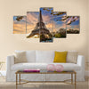 Eiffel Tower with spring tree in Paris, France Multi panel canvas wall art