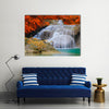 Erwan Waterfall In The Deep Forest In A National Park, Multi Panel Canvas Wall Art