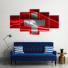 Switzerland Flag Fabric With Waves Multi Panel Canvas Wall Art
