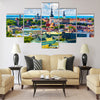 Scenic summer aerial view of the Old Town architecture Multi panel canvas wall art