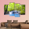 Erawan waterfall in Thailand Beautiful nature background Multi panel canvas wall art