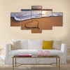 Heart on beach. Romantic composition. multi panel canvas wall art