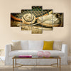 Old tennis ball and racket with sneakers on a wooden floor Multi panel canvas wall art