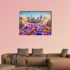 Shanghai, China aerial view over highways multi panel canvas wall art