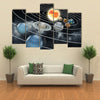 Eight Planets Illustration Of Solar System Multi Panel Canvas Wall Art