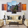 Bruges - Look to canal form bridge Multi panel canvas wall art