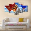 Hot air balloon turkey flag flying mountain valley Cappadocia Turkey, multi panel canvas wall art
