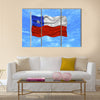 illustration of waving Chilean Flag on blue sky Multi panel canvas wall art