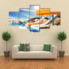 Colorful Aqua park Constructions in Swimming-pool Multi panel Canvas Wall Art